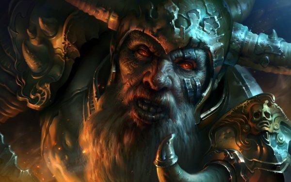 Fantasy Warrior Red Eyes Beard Armor Helmet HD Wallpaper   Background Image