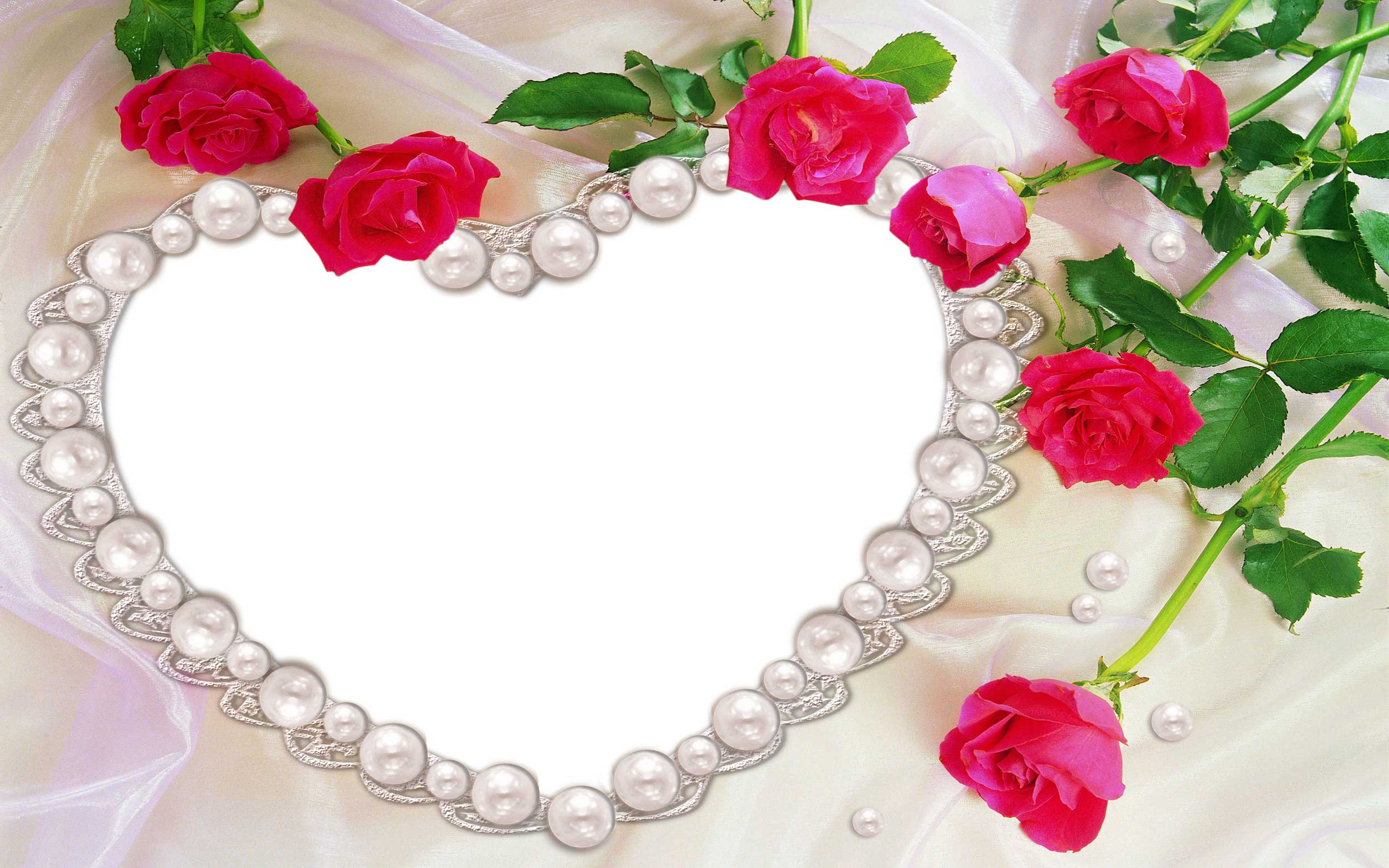 Heart Shaped Pearl Necklace And Pink Roses Full HD Wallpaper