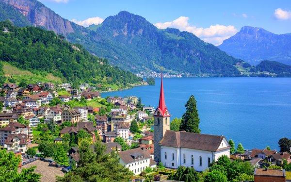 Man Made Lucerne Towns Switzerland Lake Mountain Town HD Wallpaper | Background Image