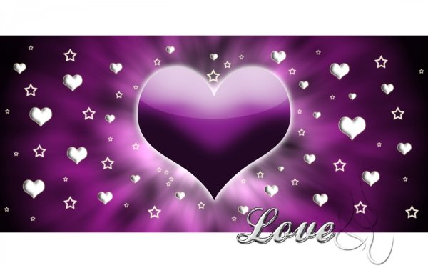 Artistic Love Heart Purple Star White Silver HD Wallpaper | Background Image