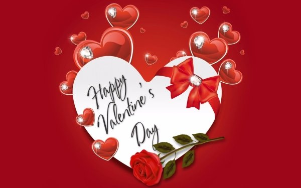 Holiday Valentine's Day Heart Rose Diamond HD Wallpaper   Background Image