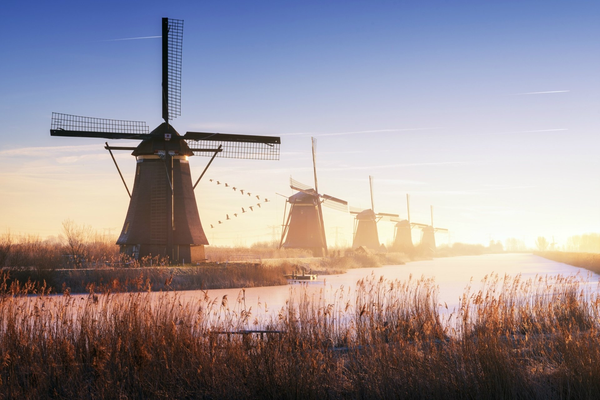 Man Made - Windmill  Building River Sunrise Wallpaper