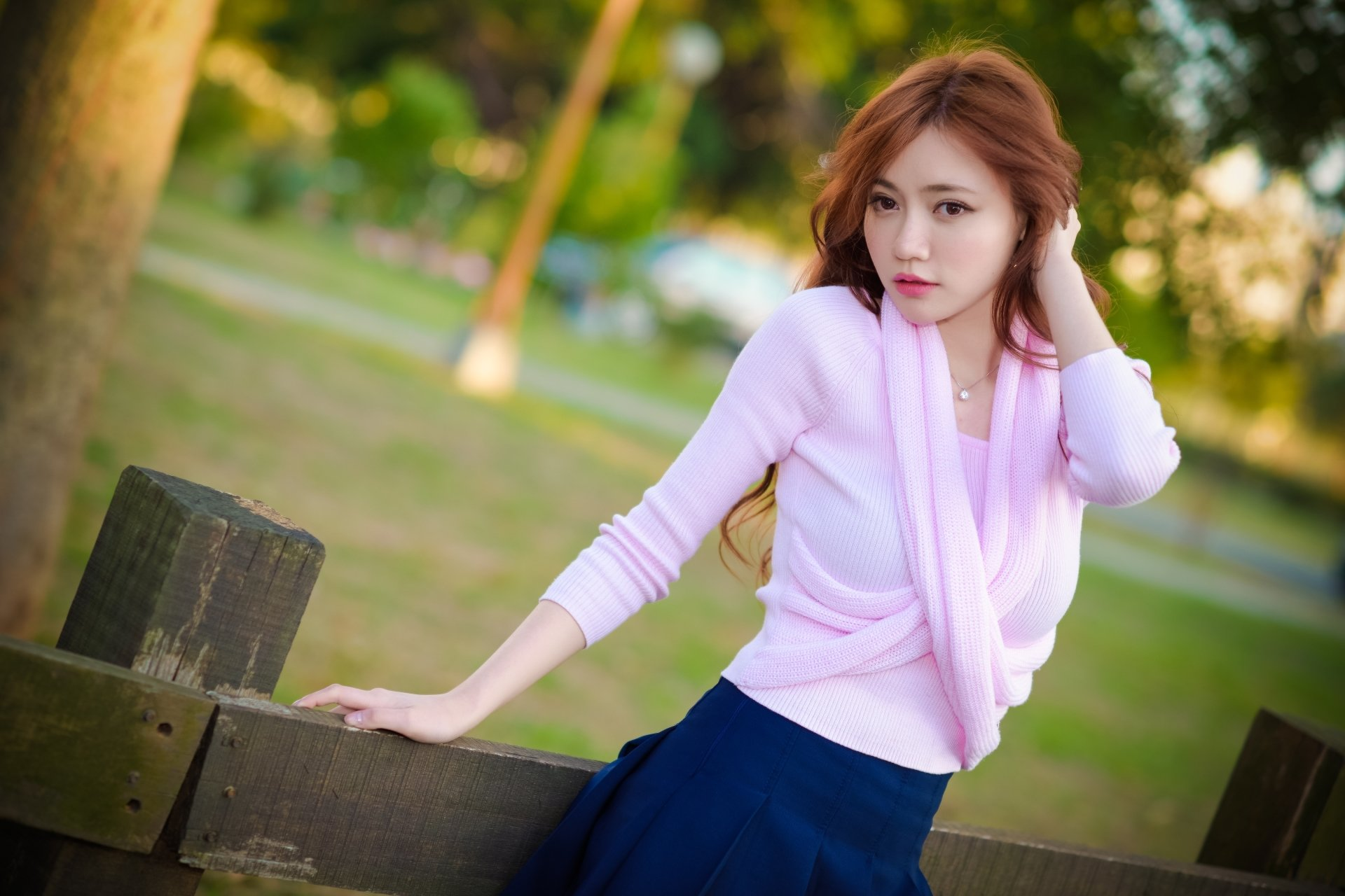 Women - Asian  Woman Model Girl Brown Eyes Redhead Depth Of Field Wallpaper