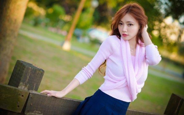 Frauen Asiatinnen Woman Modell Mädchen Brown Eyes Redhead Depth Of Field HD Wallpaper | Hintergrund