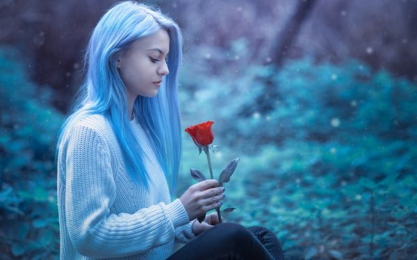 Women Mood Woman Model Blue Hair Red Rose HD Wallpaper   Background Image