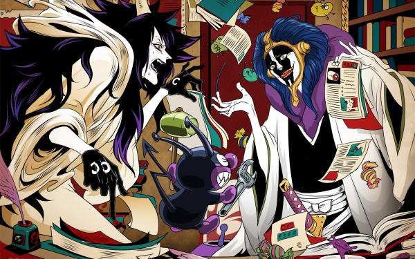 Anime Crossover Mayuri Kurotsuchi Caesar Clown Baikinman Bleach One Piece Go! Anpanman HD Wallpaper | Background Image