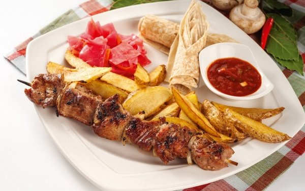 Food Barbecue Meal French Fries HD Wallpaper | Background Image