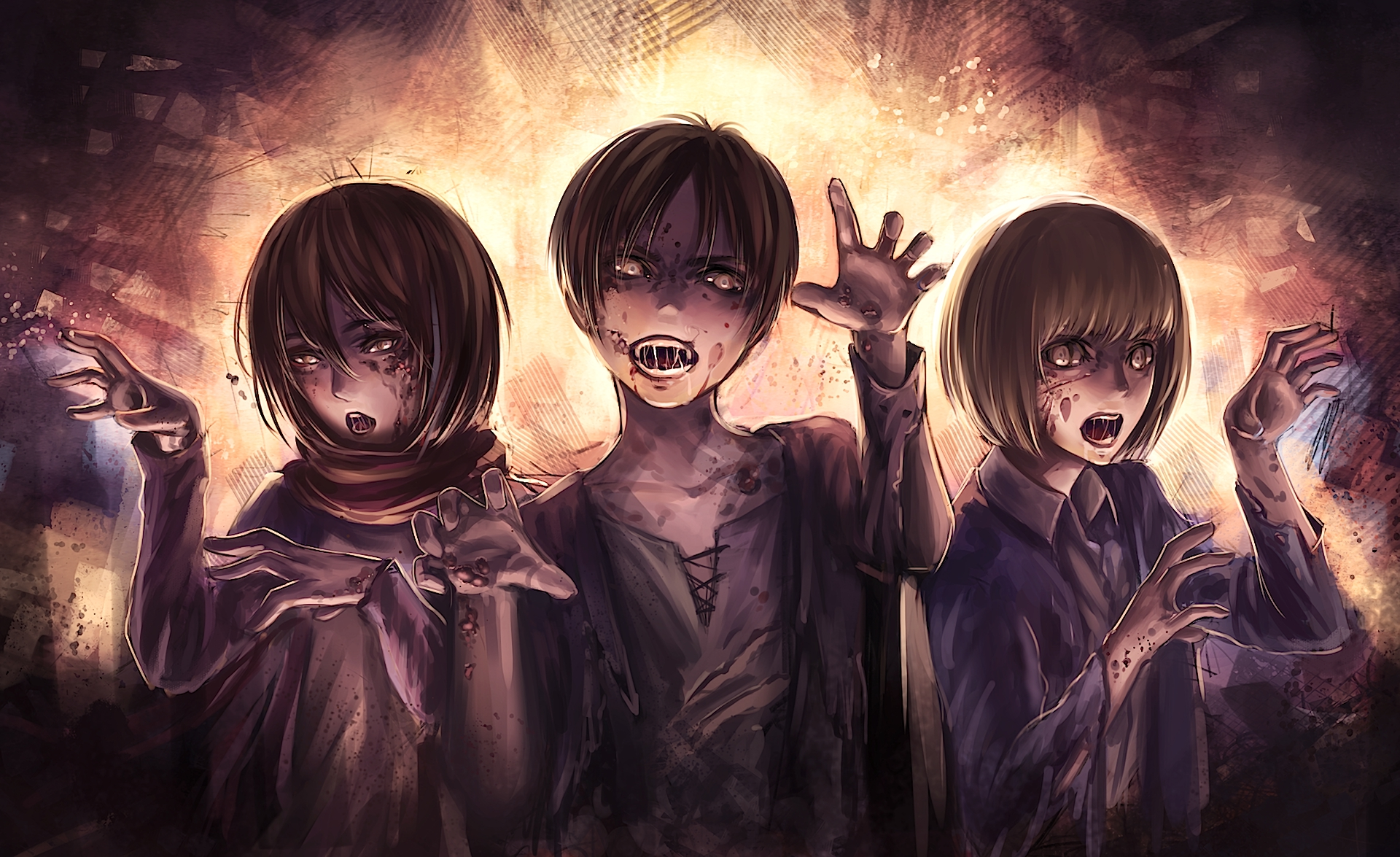 Eren Mikasa And Armin Become Zombies Hd Wallpaper Background Image 1920x1175 Id 814928 Wallpaper Abyss