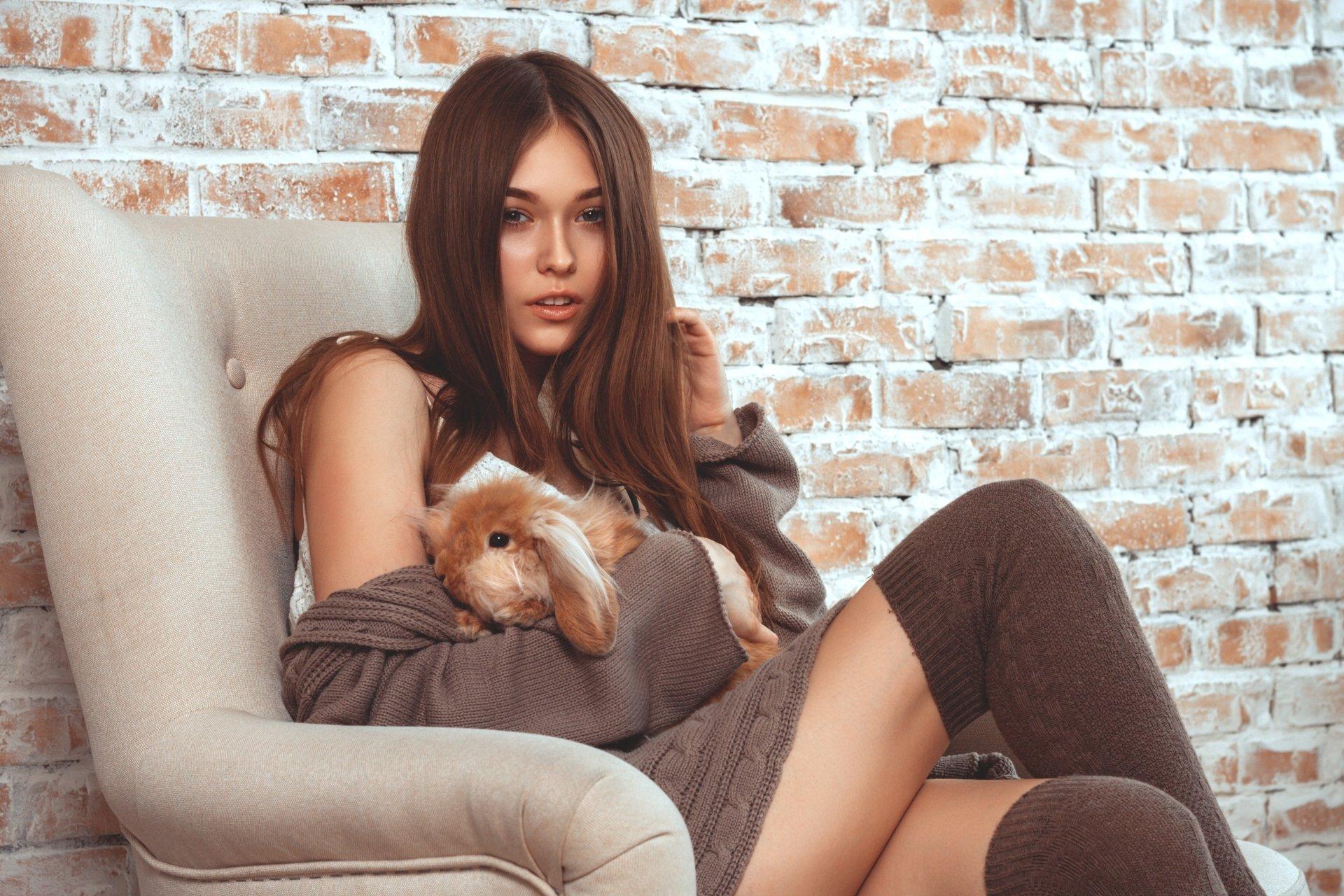Women - Model  Brunette Bunny Socks Rabbit Brick Woman Girl Wallpaper