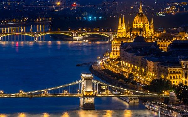 Man Made Hungarian Parliament Building Monuments Bridge Light Hungary Night River Budapest Chain Bridge Margaret Bridge HD Wallpaper | Background Image