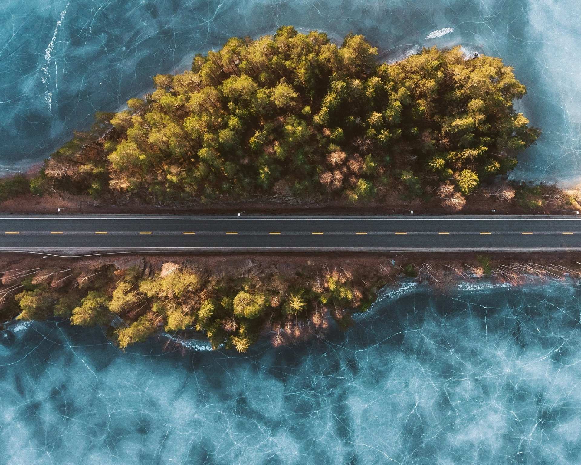 Man Made - Road  Island Aerial Frozen Wallpaper