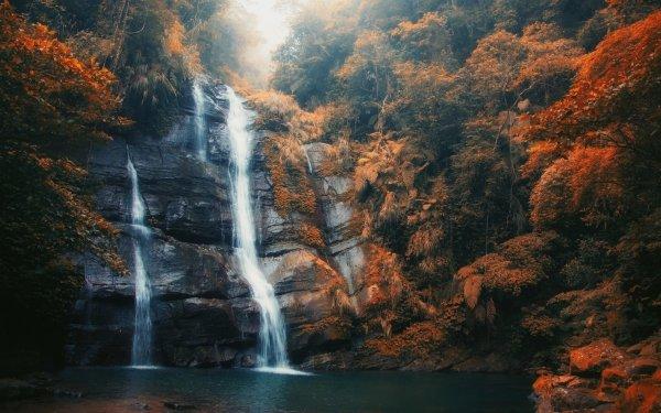Tierra/Naturaleza Cascada Cascadas Rock Otoño Foliage Niebla Fondo de pantalla HD   Fondo de Escritorio