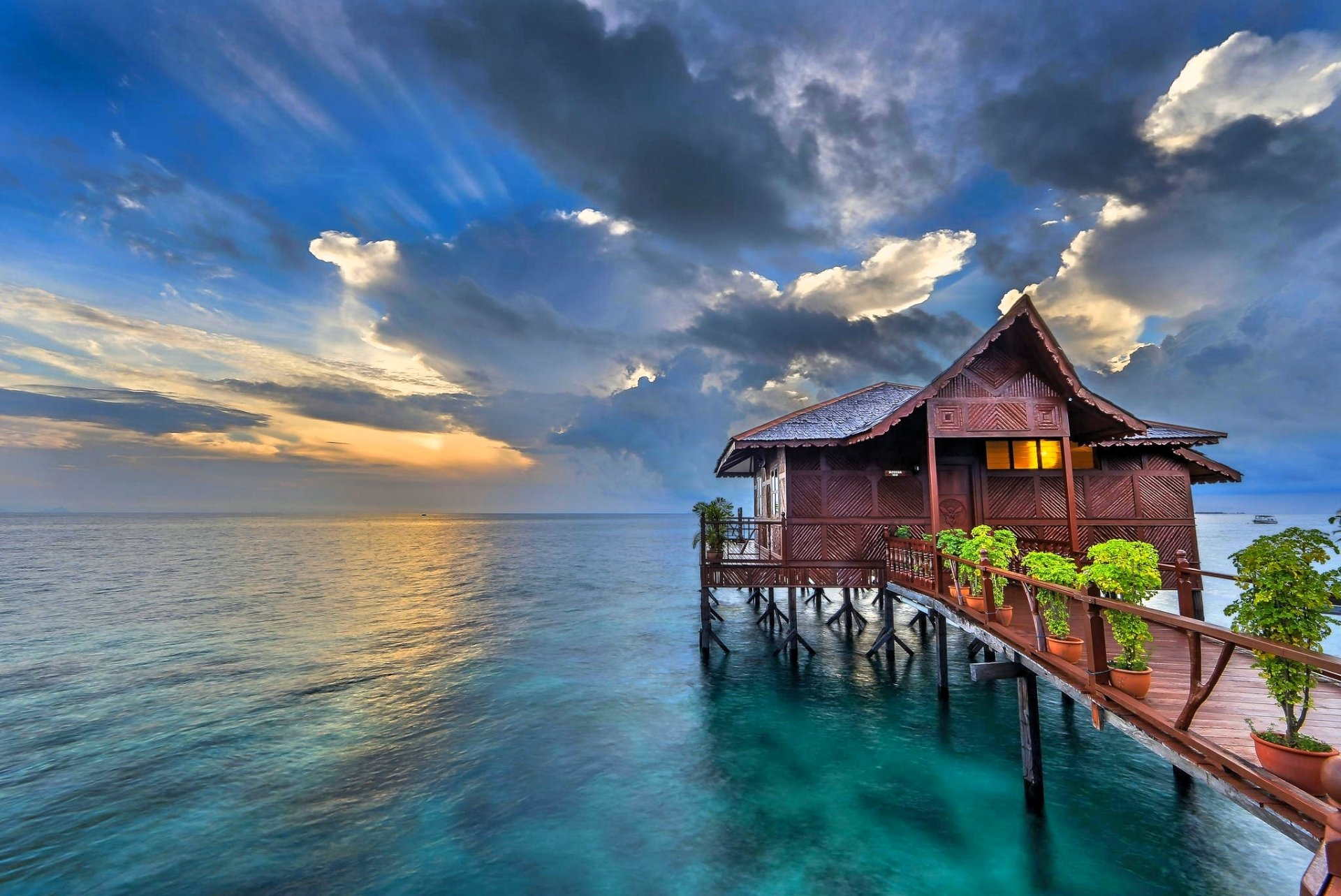 Bungalow on Tropical Beach HD Wallpaper | Background Image ...