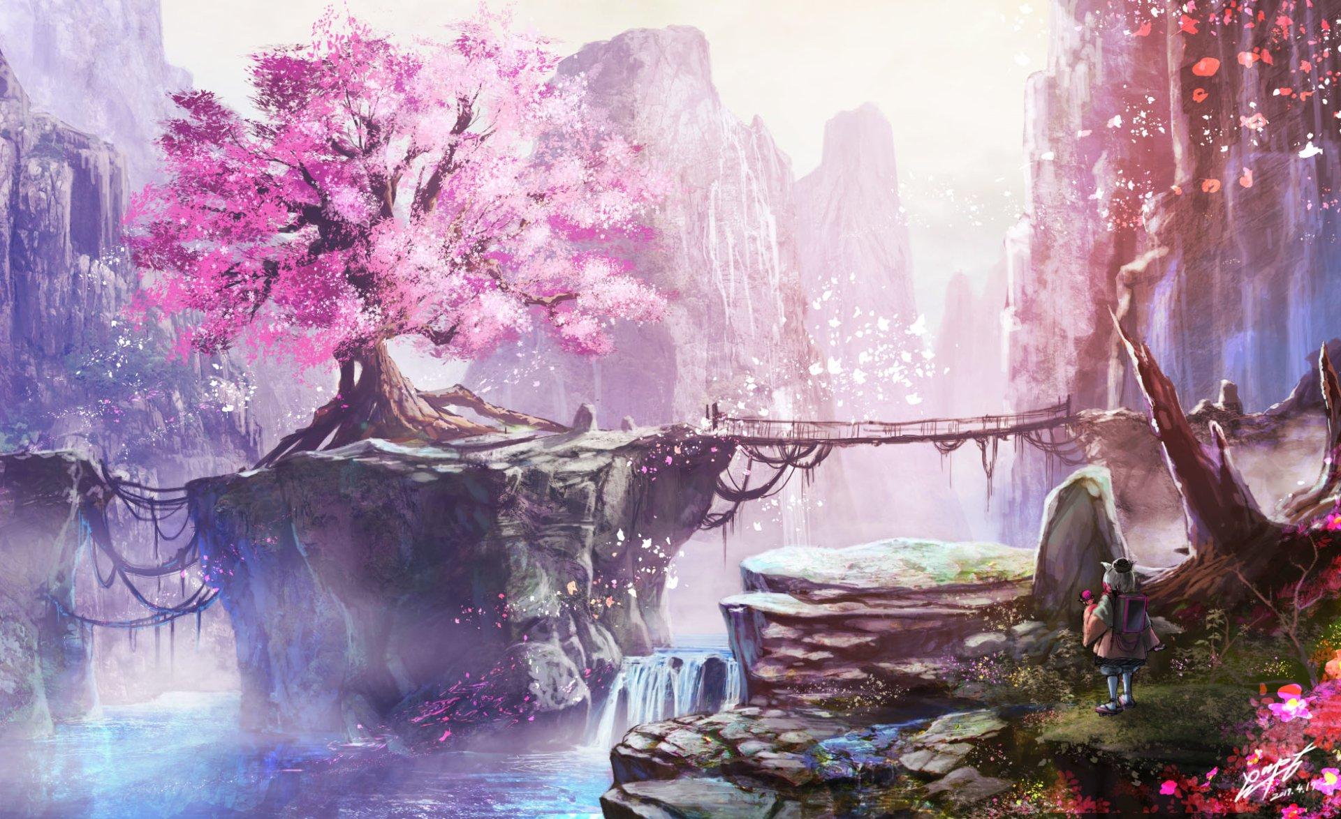 Anime - Original  Cherry Blossom Landscape Tree Blossom Nature Petal Wallpaper