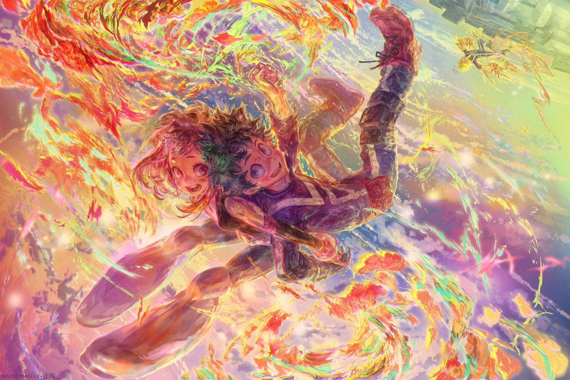 Anime - My Hero Academia  Ochako Uraraka Izuku Midoriya Wallpaper