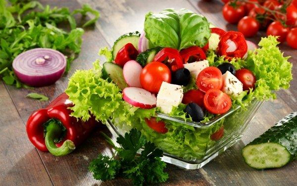 Food Salad Lettuce Tomato Still Life Pepper HD Wallpaper | Background Image