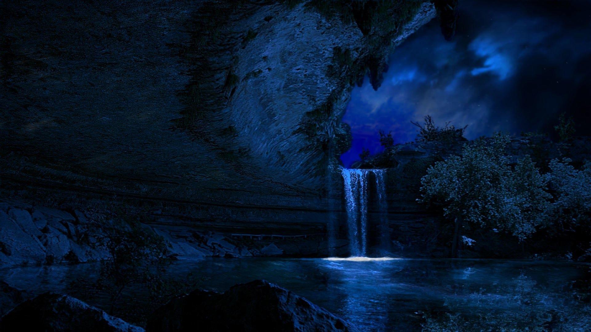 Night Waterfall Fondo De Pantalla Hd Fondo De Escritorio