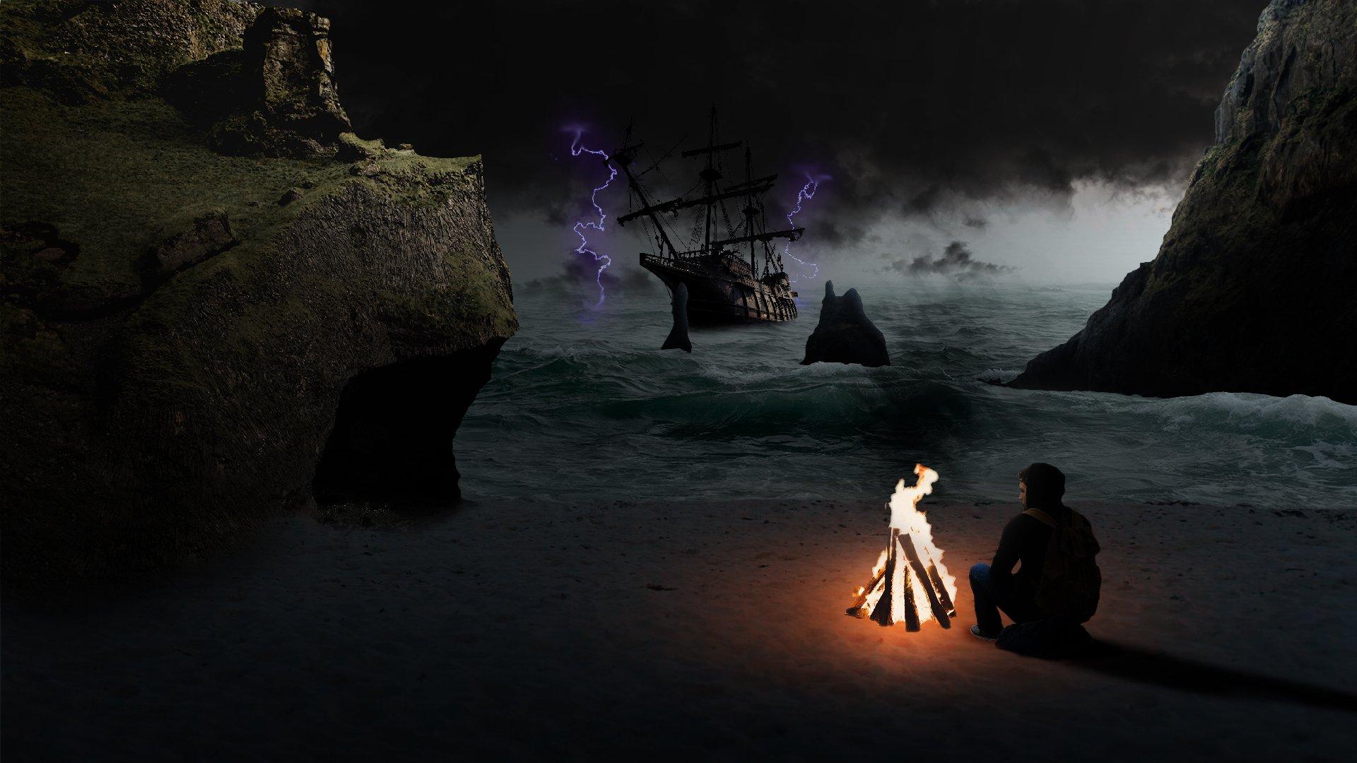Художественные - Тьма  Пляж Буря Обои