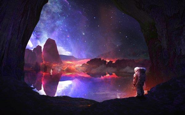 Sci Fi Astronaut Space Suit Lake Stars Reflection Cave Landscape HD Wallpaper | Background Image