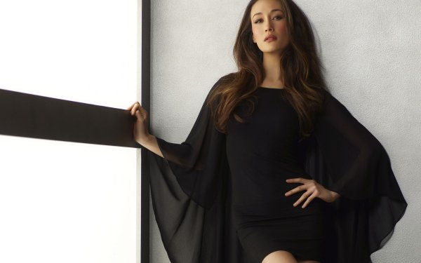 Celebrity Maggie Q Actresses United States Actress Brunette Brown Eyes Black Dress HD Wallpaper | Background Image