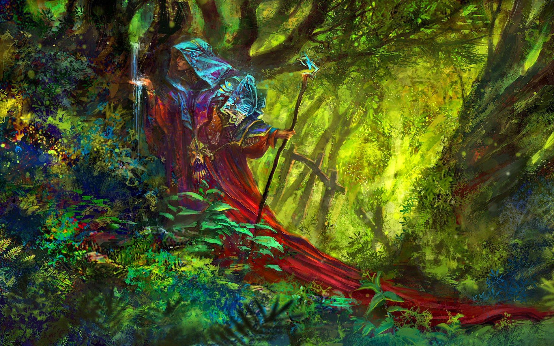 Fantasy - Women  Fantasy Woman Forest Cape Staff Wallpaper