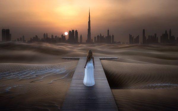 Photography Manipulation Desert Sand White Dress Rear City Skyscraper Burj Khalifa HD Wallpaper | Background Image