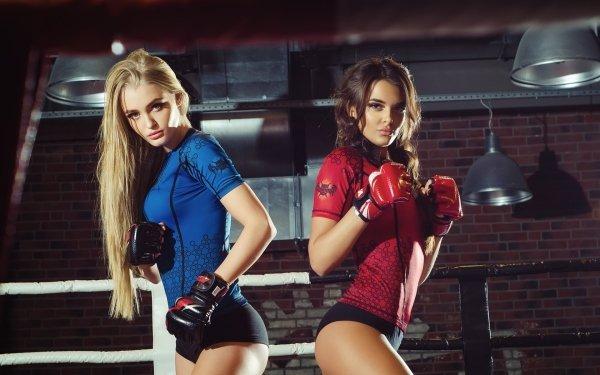 Sports Boxing Model Blonde Brunette HD Wallpaper   Background Image