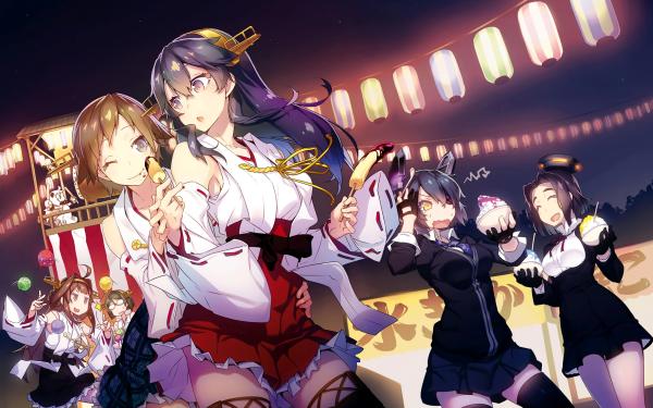 Anime Kantai Collection Haruna Hiei Kirishima Kongou Tatsuta Tenryuu HD Wallpaper | Background Image