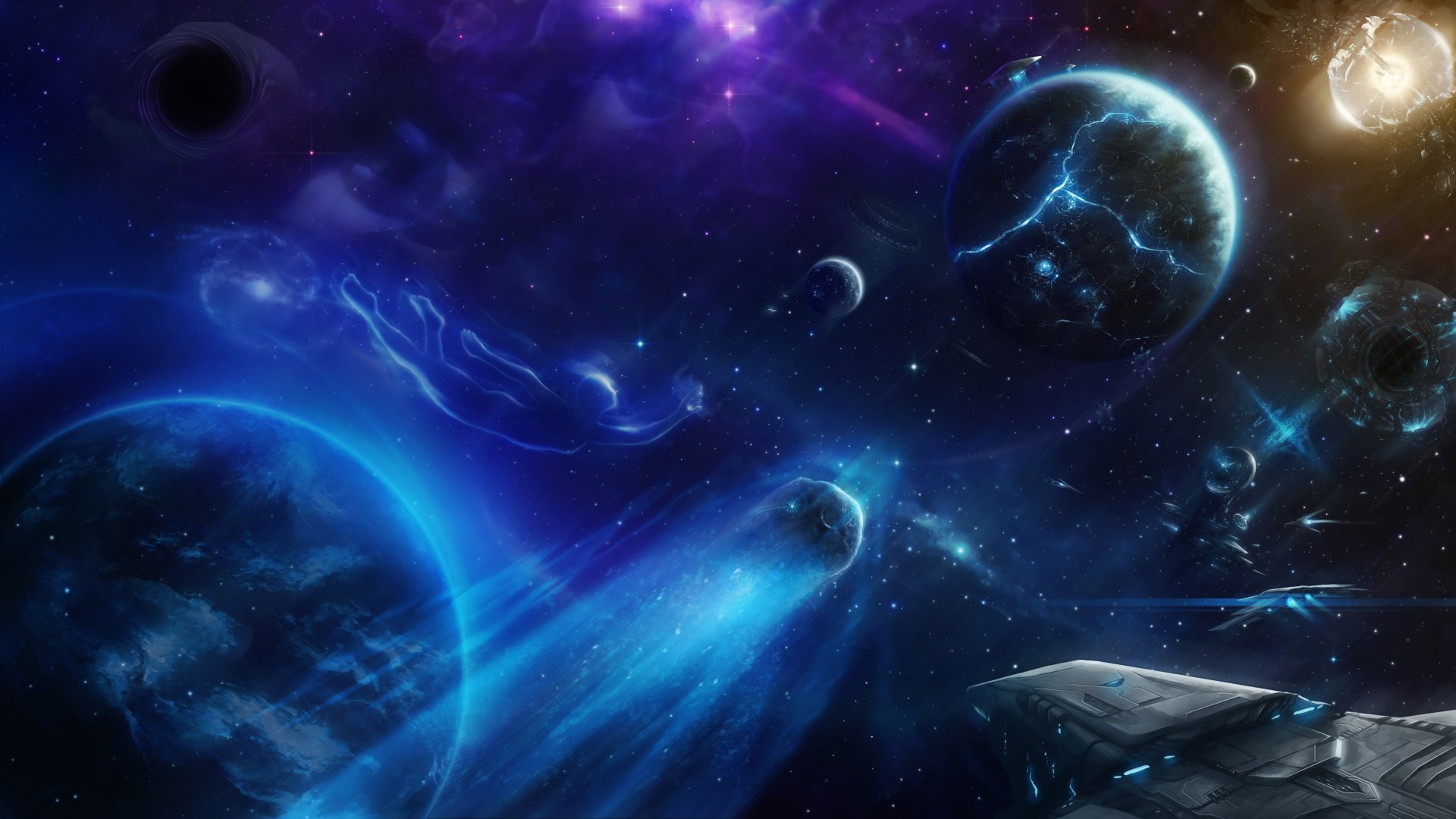 Planets and spaceship 4k ultra hd wallpaper background - Blue space 4k wallpaper ...