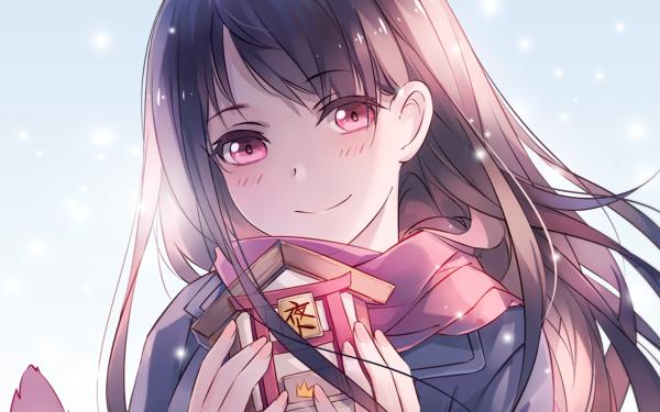 Anime Noragami Hiyori Iki Smile Pink Eyes Blush Brown Hair Scarf HD Wallpaper | Background Image