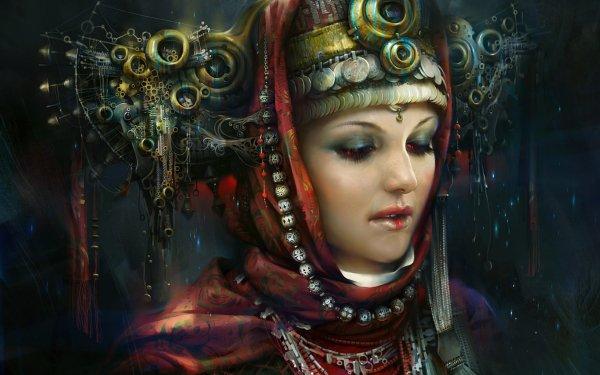 Fantasy Women Steampunk Metal Crown Jewelry Futuristic HD Wallpaper | Background Image