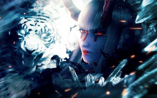 Video Game Tekken 7 Tekken Demon Devil Kazumi Glowing Eyes Close-Up Woman Red Eyes Horns HD Wallpaper | Background Image