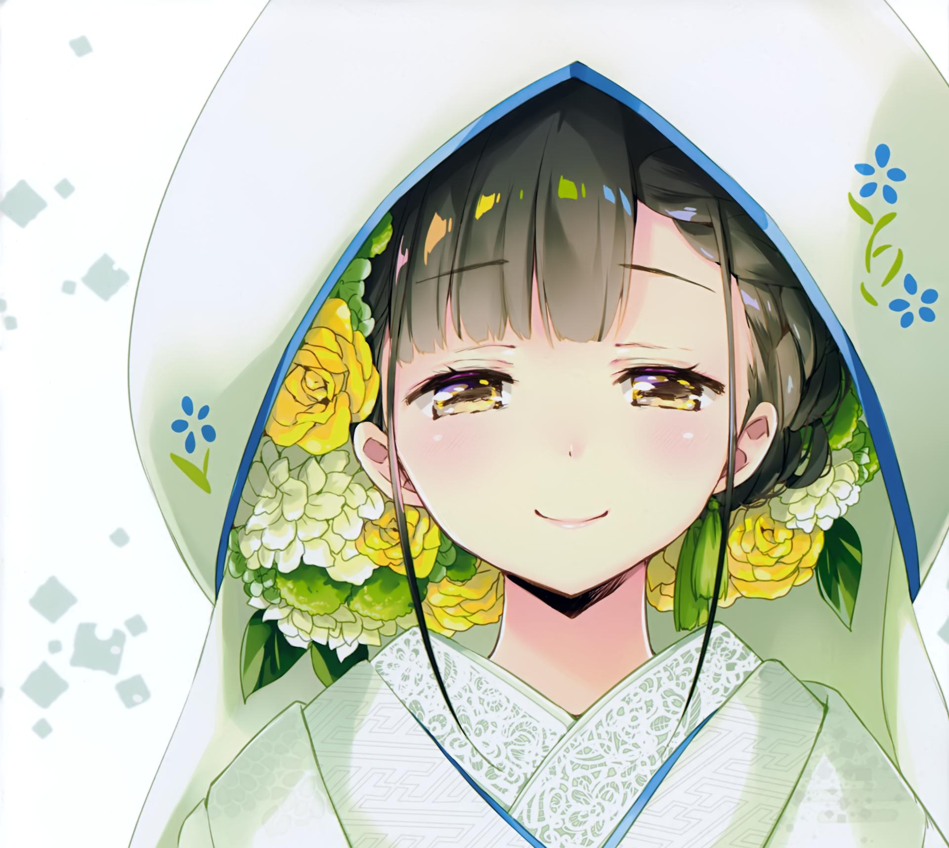 Anime - Original  Smile Flower Braid Short Hair Black Hair Yellow Eyes Kimono Hood Wallpaper