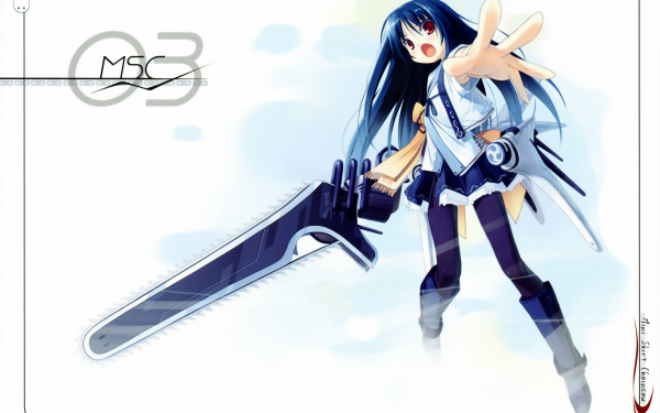 Anime Original bow Long Hair Blue Hair Red Eyes Kimono Chainsaw HD Wallpaper   Background Image