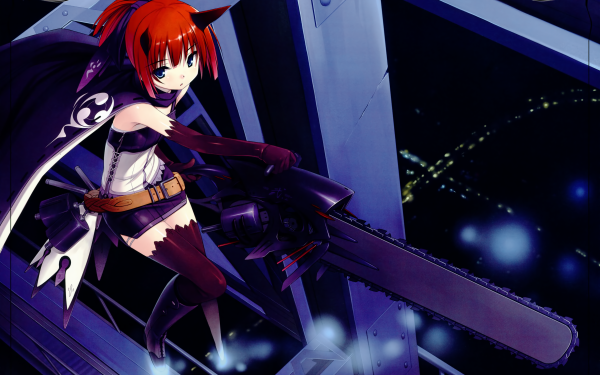 Anime Original Chainsaw Short Hair Orange Hair bow Glove Belt Horns HD Wallpaper   Background Image