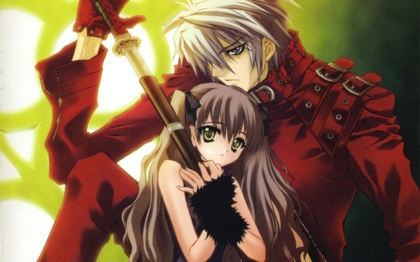 Anime Devil May Cry Long Hair Sword Grey Hair Brown Hair bow Twintails Green Eyes Purple Eyes Glove HD Wallpaper | Background Image