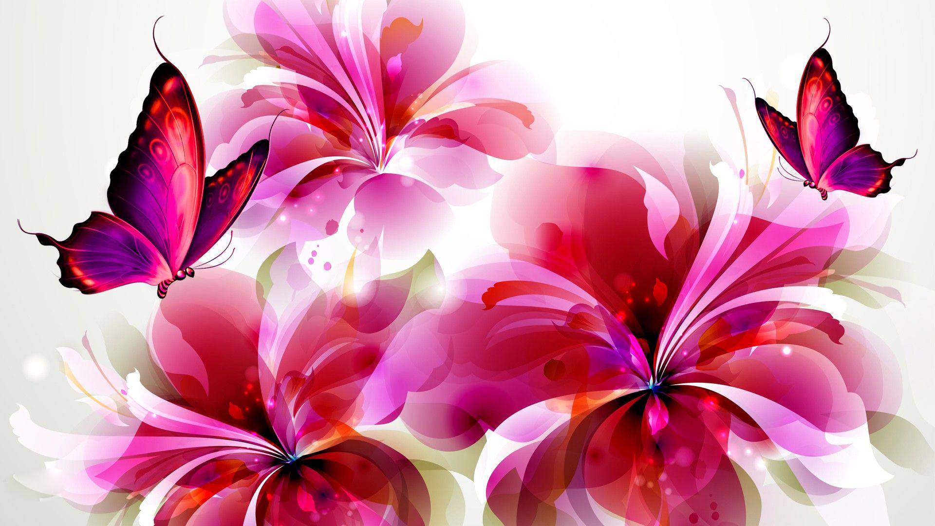 Pink Flowers and Butterflies HD Wallpaper | Background ...