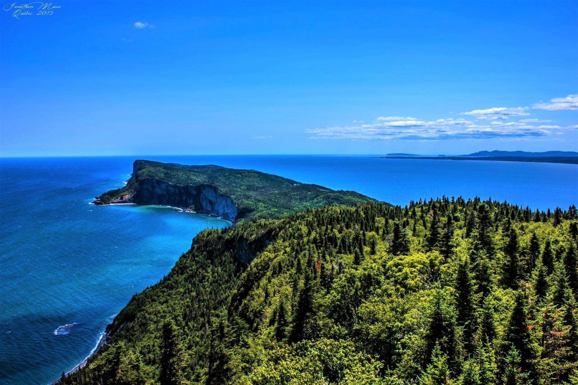 Earth - Ocean  Horizon Earth Forillon National Park Quebec Canada Forest Green Cliff Sea Wallpaper