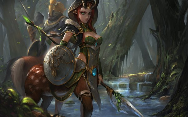 Fantaisie Centaur Woman Fille Forêt Guerrier Green Eyes Shield Horns Pointed Ears Fond d'écran HD   Arrière-Plan