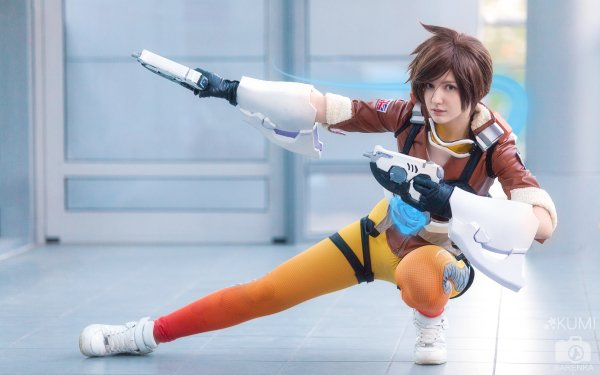 Women Cosplay Tracer Overwatch HD Wallpaper   Background Image