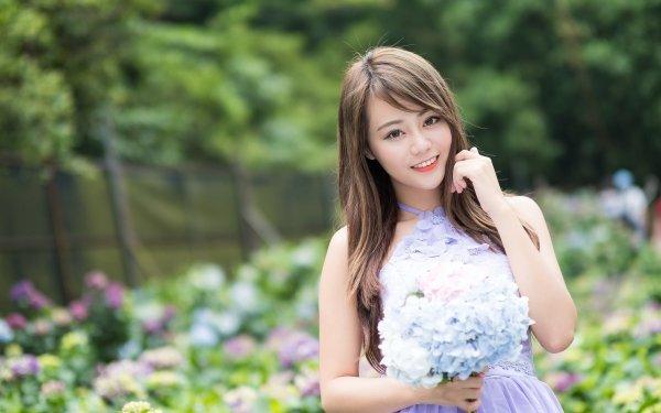 Women Asian Model Blue Flower Dress Depth Of Field Flower Smile Brunette Brown Eyes HD Wallpaper | Background Image