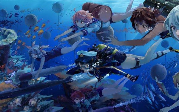 Anime Kantai Collection Fish Water I-168 I-19 I-401 I-58 I-8 Ro-500 Female Admiral HD Wallpaper | Background Image