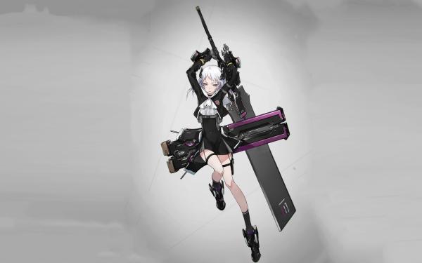 Anime Original White Hair Short Hair Sword HD Wallpaper   Background Image
