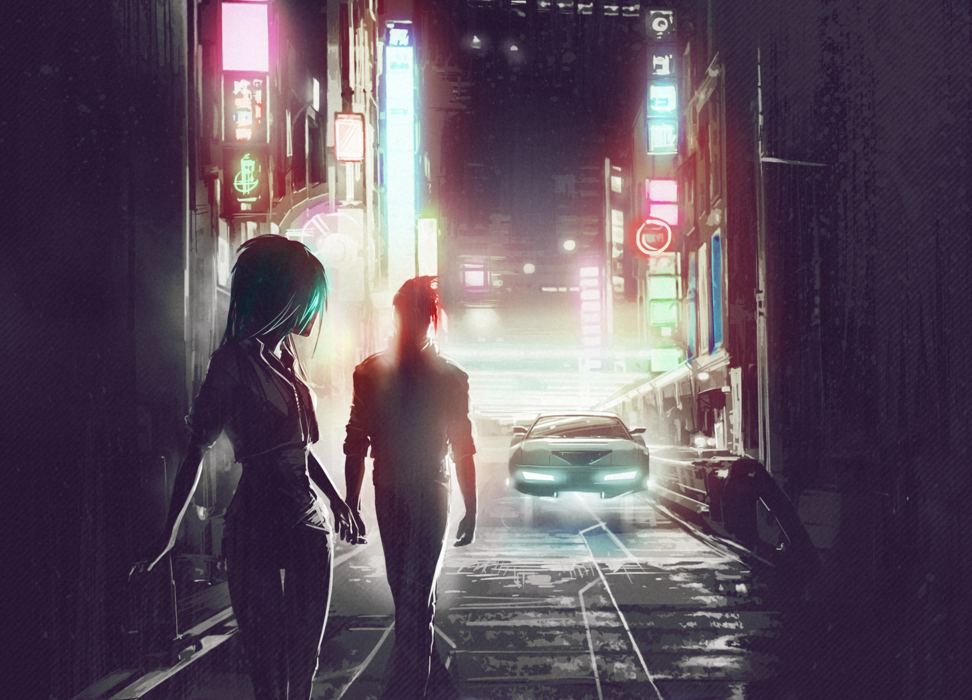 Music - Scandroid  Man Woman Futuristic City Town Car Klayton Neon Retro Wave Wallpaper