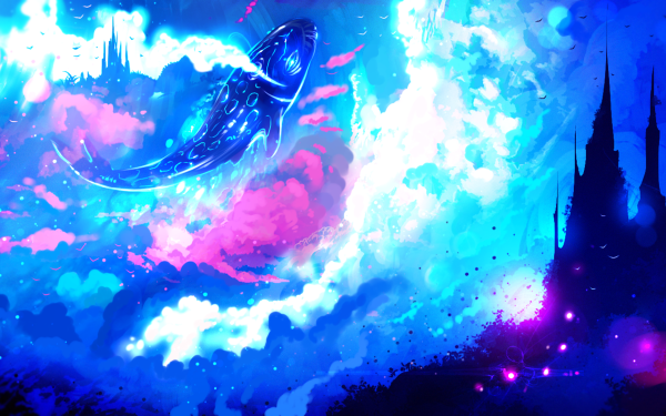 Anime Original Fish Castle Sky Cloud Fantasy HD Wallpaper   Background Image