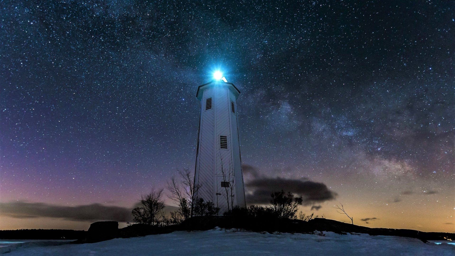 Lighthouse on a Starry Night HD Wallpaper | Background ...