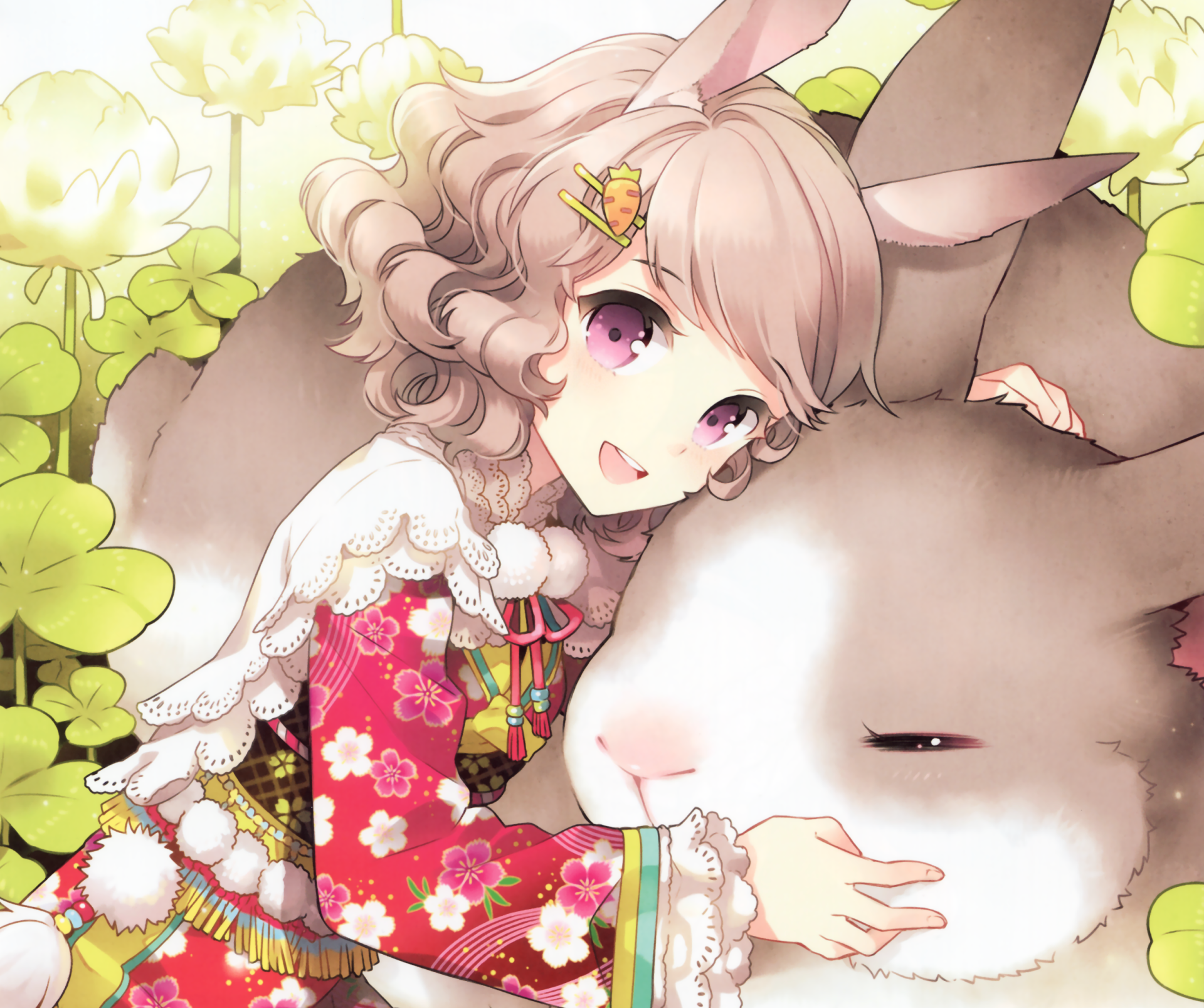 Anime - Original  Bunny Bunny Ears Clover Purple Eyes Blonde Short Hair Smile Blush Kimono Carrot Dandelion Wallpaper
