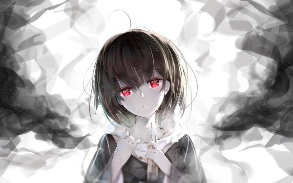 Anime Original Red Eyes Smoke Black Hair Short Hair HD Wallpaper   Background Image