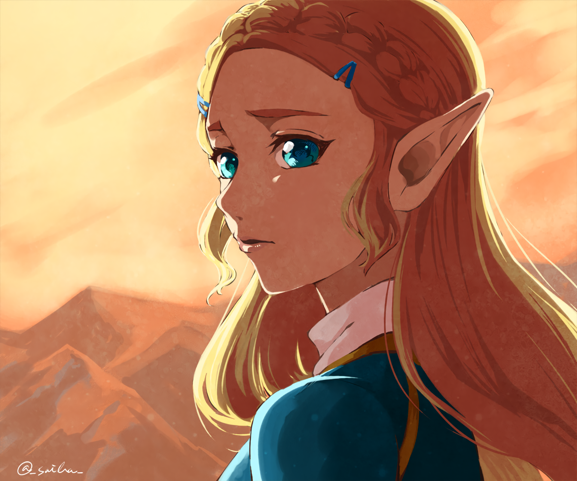 Video Game - The Legend of Zelda: Breath of the Wild  Zelda Pointed Ears Blonde Aqua Eyes Wallpaper