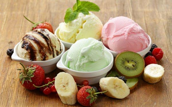 Food Ice Cream Sweets Fruit Banana Kiwi Strawberry HD Wallpaper   Background Image